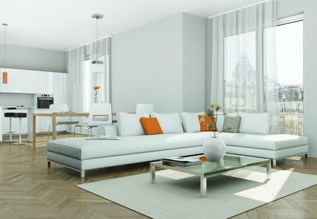 Modern bright flat interior design with sofas 3d Illustration Stock Photo
