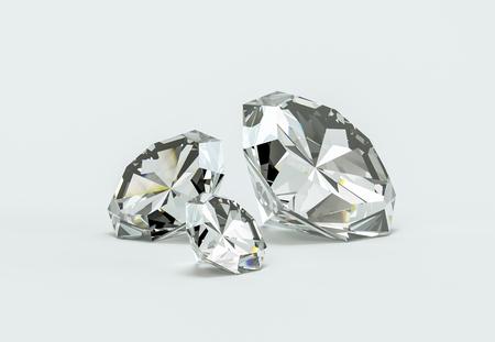 Grupo de diamantes sobre un fondo blanco Ilustración 3d