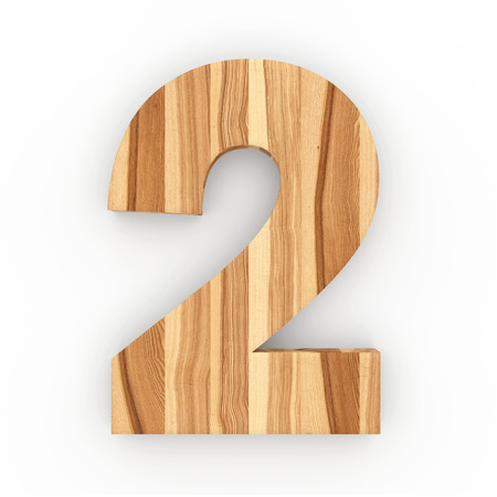 Wooden number isolated on white background 3D Illustration Stock Photo