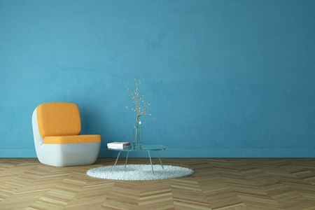 Bright room with orange armchair in front of a blue wall 3d Illustration