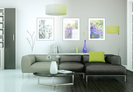 modern bright living room interior design 3d Illustration Stock Photo