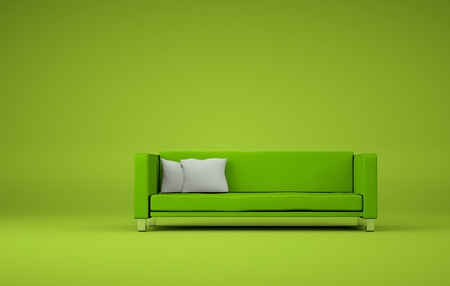 Interior design modern bright room with black sofa 3d Illustration