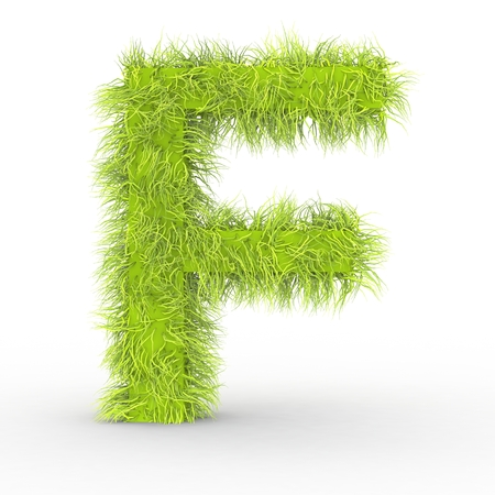Green fur F alphabet letters isolated on white background 3D Illustration