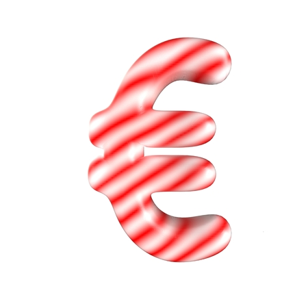 Red White candy letter Isolated on white background 3D Rendering