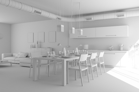 model of modern interior design living room 3d Illustration Stock fotó