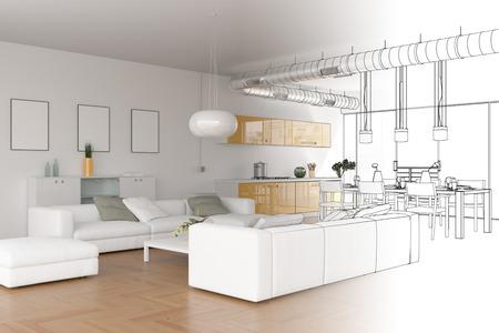 Gradazione del disegno del sottotetto moderno di interior design nell'illustrazione 3d della fotografia