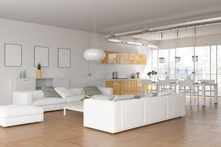 modern white skandinavian interior design living room 3d Illustration