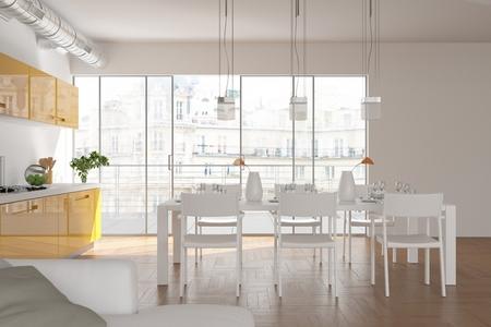 Modern white Scandinavian interior design living room 3d Illustration Stock fotó