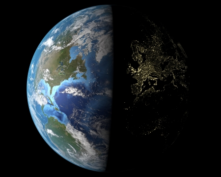 globe earth: View on Earth from space, Europe at night Stock Photo