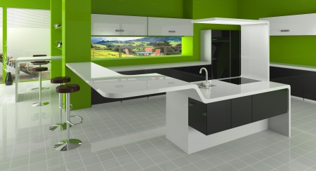 Modern kitchen in green, black and white colors photo