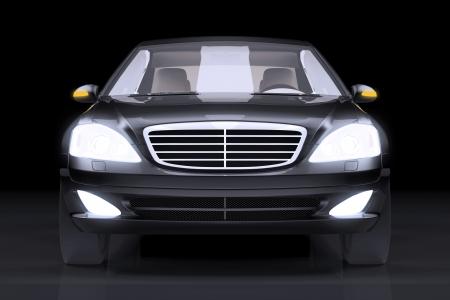 presti: Przód widok z boku na czarnym prestiżowy samochód