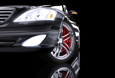 prestige: Front side view on black prestige car