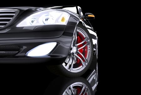 freins: Vue de c�t� avant sur la voiture de prestige noir Banque d'images