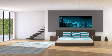 chambre à coucher: Intérieur moderne d'une chambre