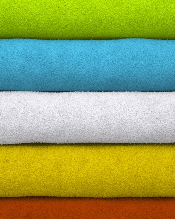 dampness: Colorful towels stacked on each other