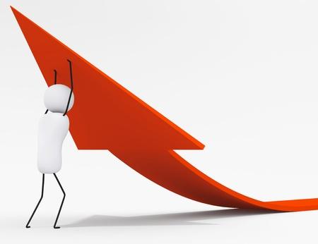 determination: 3D little people series, character raises arrow sign Stock Photo