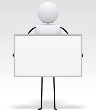 holding blank sign: 3D little people series, character is holding blank white board