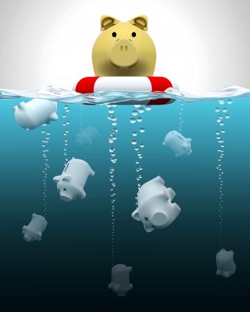 pension fund: Insured vs  not insured savings illustration Stock Photo