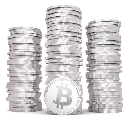 opensource: Stack of silver bitcoins Stock Photo