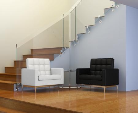 anteroom: Interior design, anteroom with leather armchairs Stock Photo