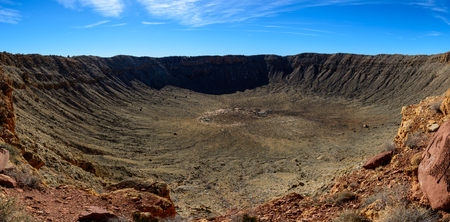 Meteor Crater panoramic view, in Winslow, Arizona, USA Stock Photo