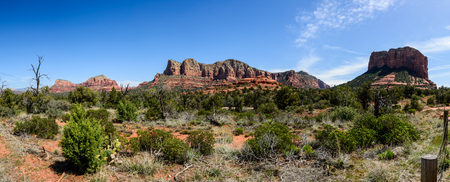 View of Red rock in  Sedona Arizona, USA. Green detert plants on the foreground