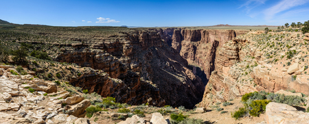 Panoramic view of canyon in Little colorado river navajo tribal park in Arizona, USA. Plateau around canyon covered with green desert plants Stock Photo
