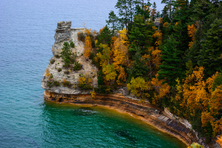 Miners cliff in Pictured Rocks National Lakeshore, Munising, MI, USA Reklamní fotografie