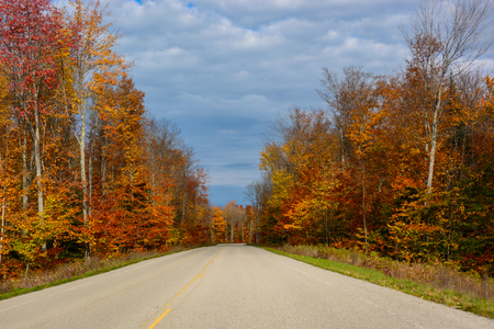 Gorgeous display of fall colors, leaves, red, orange, green and yellow trees with both side of empty road leading your eye through the picture. Pictured Rocks National Lakeshore, Munising, MI, USA