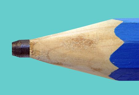 delineate: Blue pencil containing a thin stick of graphite for writing or drawing