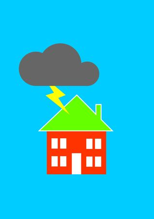 Insurance - Damage caused by lightning / a house struck by lightning Stock Photo - 1092956