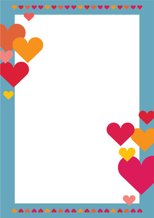 festive: You can use this border with hearts as a background for letters, mail, invitations, giftcards or as a picture-frame