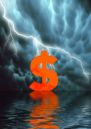 nasdaq: Conceptual illustration: low selling price  American Dollar fall Stock Photo