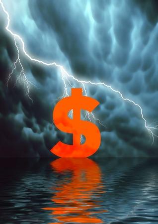 Conceptual illustration: low selling price / American Dollar fall Stock Illustration - 1505267