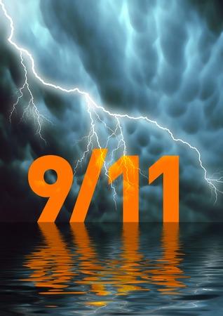 Conceptual illustration: Nine Eleven, September 11 2001, 9/11 Stock Illustration - 1526743