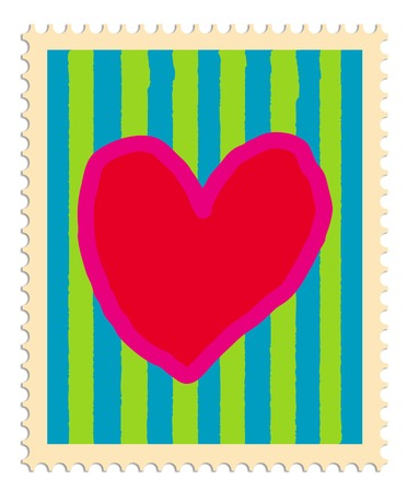 postage stamp: Postage stamp with painted heart and stripes in bright colors Illustration
