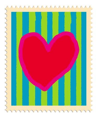 sello postal: Sello de correos con el coraz�n y las rayas pintadas en colores brillantes