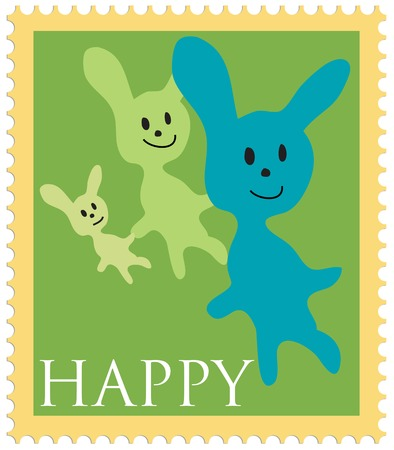Stamp with bunny  (mother, father, )