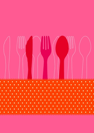 vintage cutlery: Dinner invitation card design with cutlery and polkadots