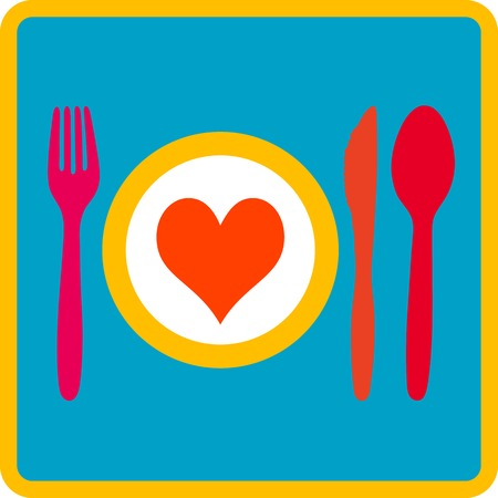 dinner party table: Dinnerplate with heart and cutlery (Spoon, fork, knife)