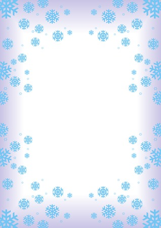 greetingcard: Winter frame  background with blue snowflakes (snow crystals)