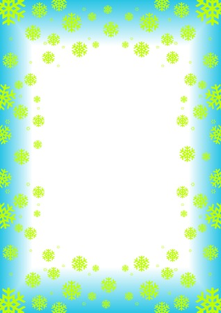 Winter frame / background with green snowflakes (snow crystals) Stock Vector - 2136294