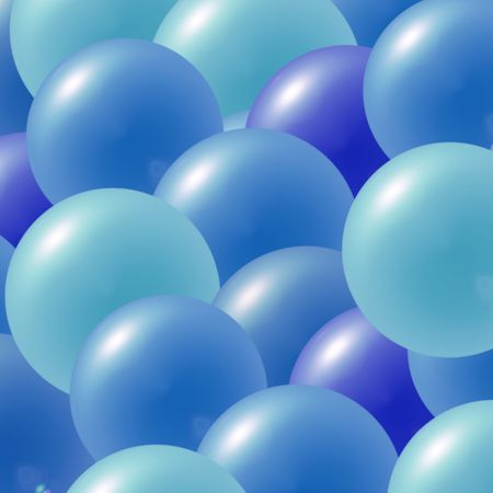 Multi colored party balloons in shades of blue
