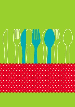 dinner party table: Dinner invitation card design with spoon, fork, knife and polkadots Illustration
