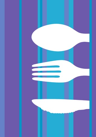 gifttag: Retro striped background design with cutlery silhouette Illustration