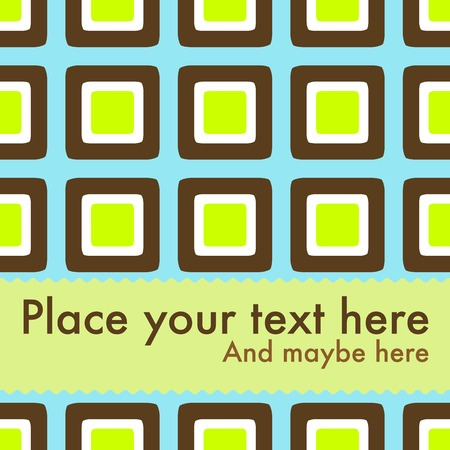 Seventies style design with retro squares to use with your own text Illustration