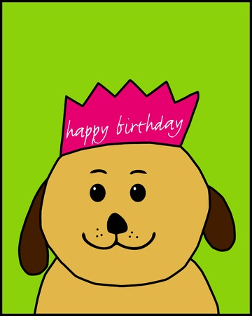 greetingcard: Design for a birthday card with a cute brown dog (hand drawn)