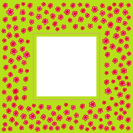 Border of handdrawn pink and red flowers on a bright green background Stock Vector - 2335731