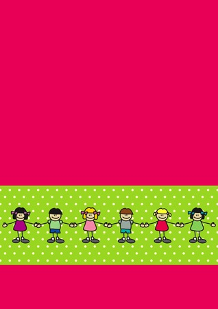 Children (boys and girls) dancing together, holding hands