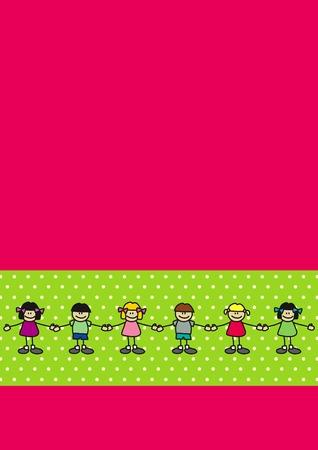 chicas bailando: Los ni�os (ni�os y ni�as) bailando juntos, tomarse de las manos